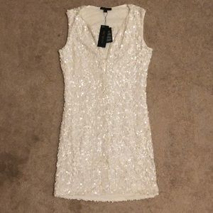 Rachel Zoe winter white sequin dress, size M